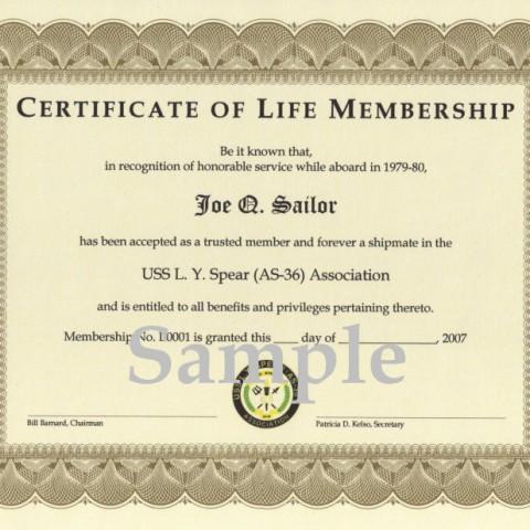 Membership Certificate - Life